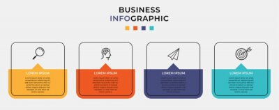 Plakat Business Infographic design template Vector with icons and 4 four options or steps. Can be used for process diagram, presentations, workflow layout, banner, flow chart, info graph