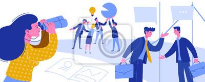 Plakat Business Intelligence Kreatywny pomysł Złodziejstwo. Szpiegostwo ekonomiczne dla biznesmena. Kobieta Patrzeje lornetki Przemysłowego szpiegostwa sceny kreskówki wektoru Płaska ilustracja.