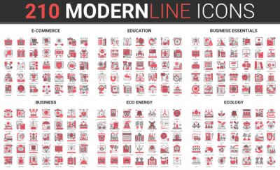 Plakat Business internet commerce technology, sustainable resource and eco energy ecology thin red black line icon vector illustration set. Linear economics, ecosystem global innovation, education collection