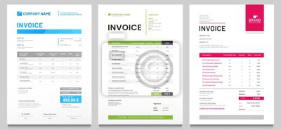 Plakat Business invoice form template. Invoicing quotes, money bills or price invoices and payment agreement design templates. Tax form, bill graphic or payment receipt page vector set