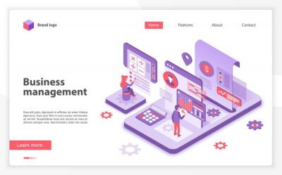 Plakat Business management landing page vector template. Corporate development website homepage interface layout with isometric illustration. Leadership training courses web banner, webpage 3D concept