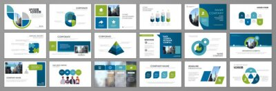Plakat Business presentation infographic template set. Keynote presentation background, slide templates, website ideas, brochure cover design, landing page, annual report brochure. Vector Illustration