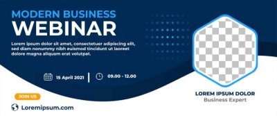 Plakat Business webinar horizontal banner design. Modern banner design with dark blue and white background color and place for the photo.