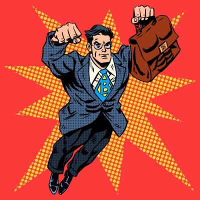 Plakat Businessman superhero work flight business concept retro style p