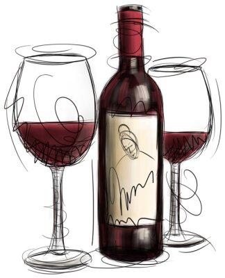 Plakat Butelek wina i szklanki