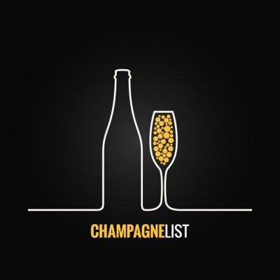 Plakat Butelka szampana szkło tło menu
