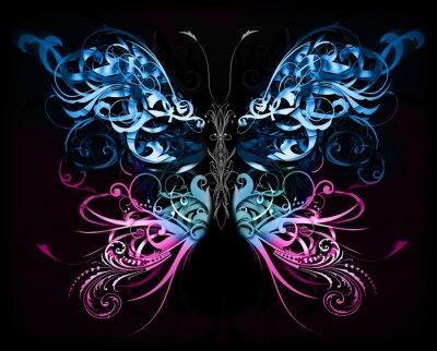 Plakat butterfly made of flourish abstract shapes