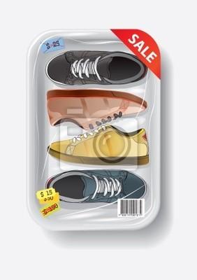 buty w plastikowym pojemniku