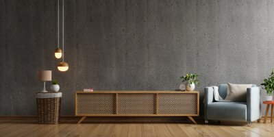 Plakat Cabinet TV in modern living room with armchair,lamp,table,flower and plant on concrete wall background.
