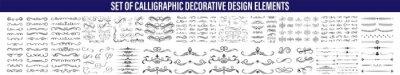 Plakat Calligraphic design elements . Decorative swirls or scrolls, vintage frames , flourishes, labels and dividers. Retro vector illustration, Calligraphic Design Elements,Design Elements Dividers And Dash
