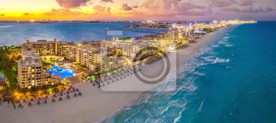 Plakat Cancun beach during sunset