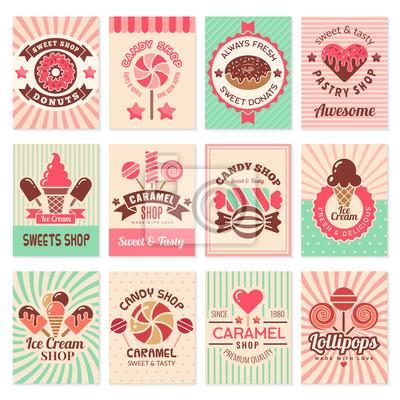 Plakat Candy shop cards. Sweet food desserts confectionary symbols for restaurant menu vector flyer collection. Confectionery banner shop, candy dessert, sweet caramel illustration