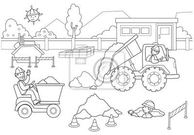 Plakat Cantiere con lavoratori e macchinari.