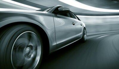 Plakat Car szybkiej jazdy w tunelu