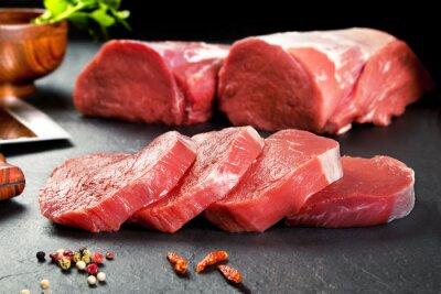 Plakat Carne fresca cruda.Medallones de solomillo filetes para Cocinar.