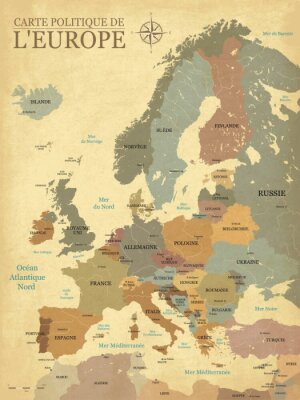 Plakat Carte Europe avec capitales - Tekstura rzymskiego rocka - Teksty français - Vecteur CMJN