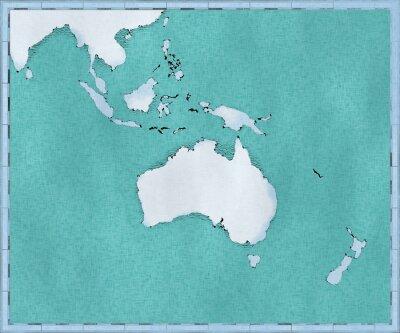 Plakat Cartina dell'Oceania, disegnata illustrata pennellate, cartina geografica, fisica. Cartografia, atlante geografico
