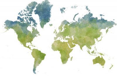 Plakat Cartina mondo, disegnata illustrata pennellate