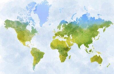 Plakat Cartina mondo, disegnata illustrata pennellate, confini Stati