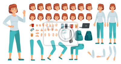 Plakat Cartoon female character kit. City in casual clothing woman creation constructor, different hands, legs and body poses. Custom girl character parts, female generator. Isolated vector icons set