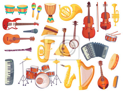Plakat Cartoon instrumenty muzyczne, gitara, bębny bongo, wiolonczela, saksofon, mikrofon, zestaw perkusyjny na białym tle. Kolekcja instrumentów muzycznych