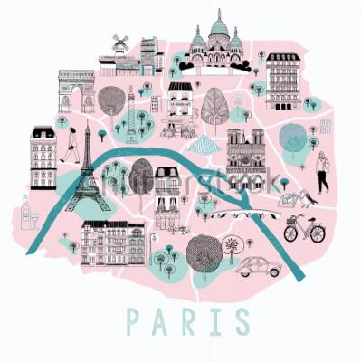 Plakat Cartoon Mapa Paryża z ikonami Legend. Drukowanie projekcji