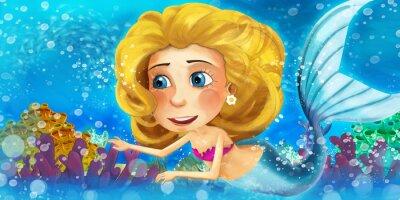 Plakat Cartoon oceanu i syrena z ojcem króla - ilustracja dla dzieci