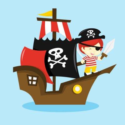 Plakat Cartoon Pirate Kid Ship