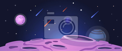 Plakat Cartoon space banner with purple planet surface with craters on night galaxy sky