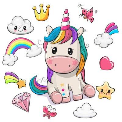 Plakat Cartoon Unicorn and set of cute design elements