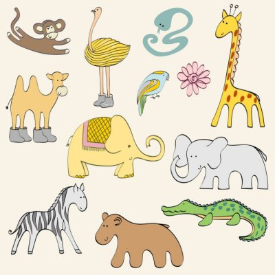 Plakat Cartoon zwierząt