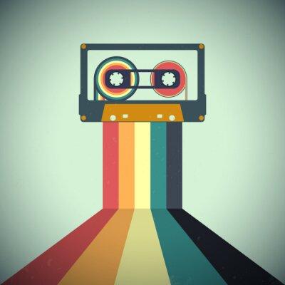 Plakat Cassettes music retro style. Vector illustration