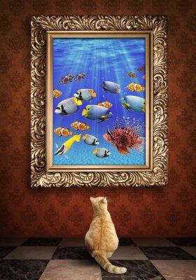 Plakat Cat patrząc na portret obraz w złotej udewater fra