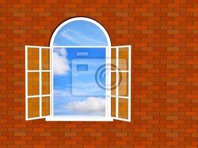 Cegła ściany z oknem