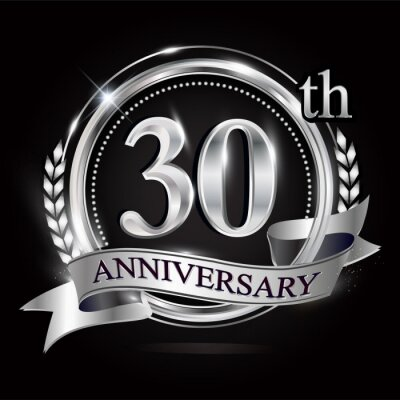 Plakat Celebrating 30th anniversary logo, with silver ring and ribbon.