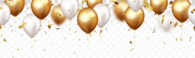 Plakat Celebration banner with gold confetti and balloons, isolated on transparent backgroound