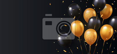 Plakat Celebration, festival background with helium balloons. Greeting banner or poster with gold and black realistic 3d vector flying balloons. Celebrate a birthday poster. Happy anniversary card.
