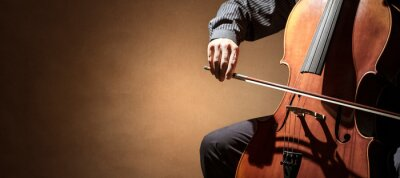 Plakat Cello player or cellist performing in an orchestra background