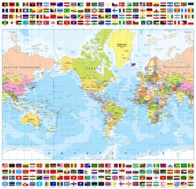 Plakat Centered Ameryka Polityczna Mapa świata i wszystkich Kraj Świat Flagi-Batymetria