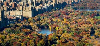 Plakat Central Park i Manhattan, Upper West Side z kolorowych spadek liści. Widok z lotu ptaka obejmuje budynki Central Park West, jeziora i Jacqueline Kennedy Onassis Zbiornika. Nowy Jork.