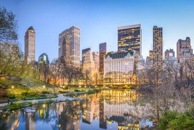 Plakat Central Park w Nowym Jorku na zmierzchu