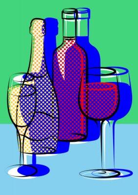 Plakat Champagner und Wein