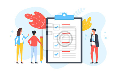 Plakat Checklist. Group of people and clipboard with check list and checkmarks. Business plan, marketing strategy, survey, complete tasks, teamwork success concepts. Modern flat design. Vector illustration