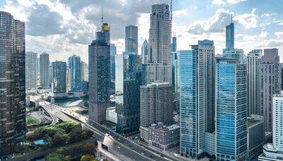 Plakat Chicago linii horyzontu trutnia powietrzny widok z góry, jezioro Michigan i miasto Chicago wieżowce centrum miasta pejzaż, Illinois, USA