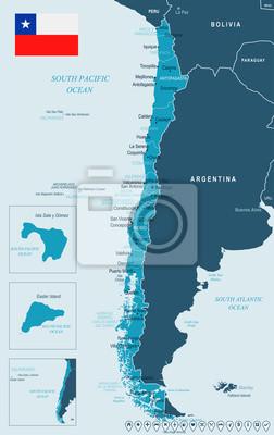 Plakat Chile - mapa i flaga - Szczegółowa Wektorowa ilustracja