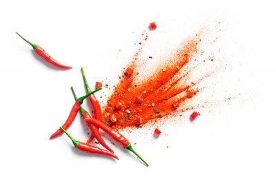 Plakat Chili, płatki czerwonego pieprzu i wybuch chili