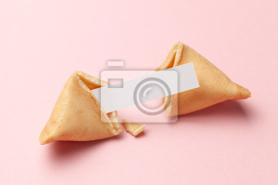 Plakat Chinese fortune cookies. Cookies with empty blank inside for prediction words. Pink background.
