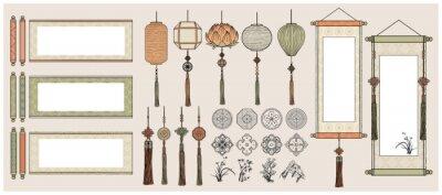 Plakat Chinese Hanging Scrolls / Oriental Vintage asian scrolls /Asian lanterns / Traditional patterns.