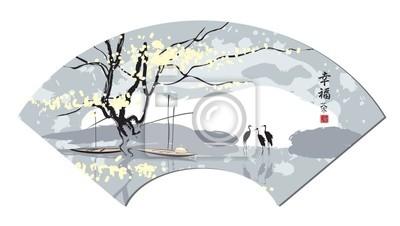 Plakat Chiński fan w krajobraz, rzeki i czapli