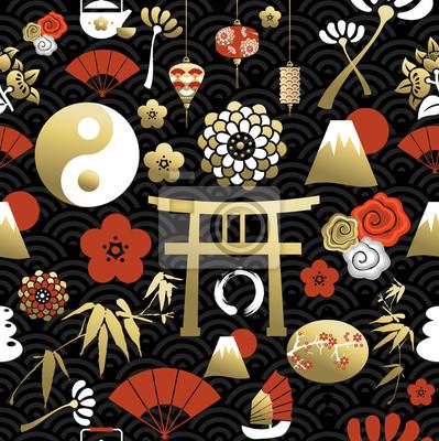 Plakat Chiński ikony bez szwu wzór elementem kultury